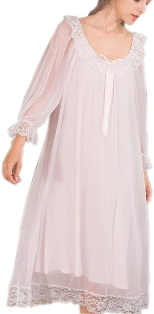 Vintage Nightgowns, Pajamas, Baby Dolls, Robes Womens Victorian Nightgown Long Sheer Vintage Nightdress Lace Lounge Sleepwear Mesh Cotton Pajamas $34.99 AT vintagedancer.com