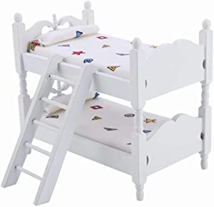 iLAZ 1:12 Scale Dollhouse Furniture Miniature Mini Bunk Bed - Simple Geo for Doll House, Miniature Accessory Kids Pretend Toy, Creative Birthday Handcraft Gift