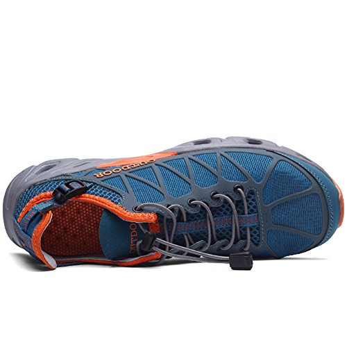 Jeater Damen / Herren Wanderschuhe Outdoor Atmungsaktive Mesh Water Shoes Grau Blau35