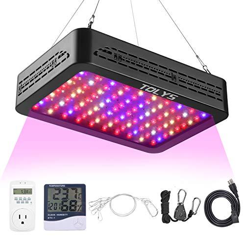 TOLYS 1000W LED Plant Grow Light for Indoor Plants, Full Spectrum Dual Chip Design Grow Lamps, Double Switch Veg and Bloom Buttons, with Timer and Thermometer Humidity Monitor, with Adjustable Rope