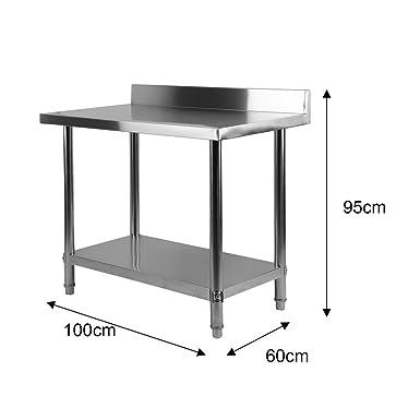 Acero inoxidable trabajo para mesa de hostelería 100 x 60 x 95 cm, con respaldo con aufkantung estructura reforzada, profesional Gastro: Amazon.es: Industria, empresas y ciencia