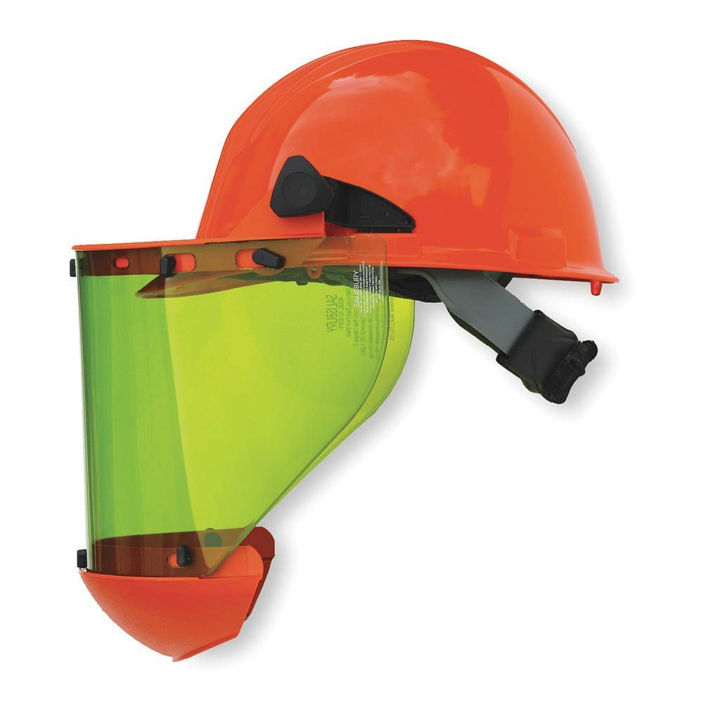 Honeywell AS1000HAT W H Salisbury Hard Cap with Ratchet Suspension, Chin Guard and AS1000 Series Arc Flash Face Shield, Orange