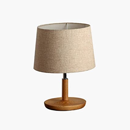 Lámpara simple de mesa de madera maciza, mesilla de ...