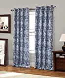 RT Designers Collection Spade Printed Blackout 54 x 84 in. Grommet Curtain Panel, Blue