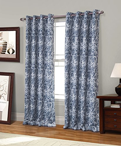 (RT Designers Collection Spade Printed Blackout 54 x 84 in. Grommet Curtain Panel, Blue)