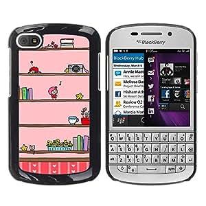 FECELL CITY // Duro Aluminio Pegatina PC Caso decorativo Funda Carcasa de Protección para BlackBerry Q10 // Camera Music Kids Cartoon Drawing Pink