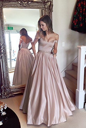 7459eaea37 Harsuccting Off The Shoulder Beaded Satin Evening Prom Dress With Pocket  Blush Pink 2