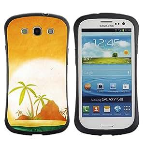 Be-Star Impreso Colorido Diseño Antichoque Caso Del iFace Primera Clase Tpu Carcasa Funda Case Cubierta Par SAMSUNG Galaxy S3 III / i9300 / i747 ( Minimalist Beach Island Sunset )