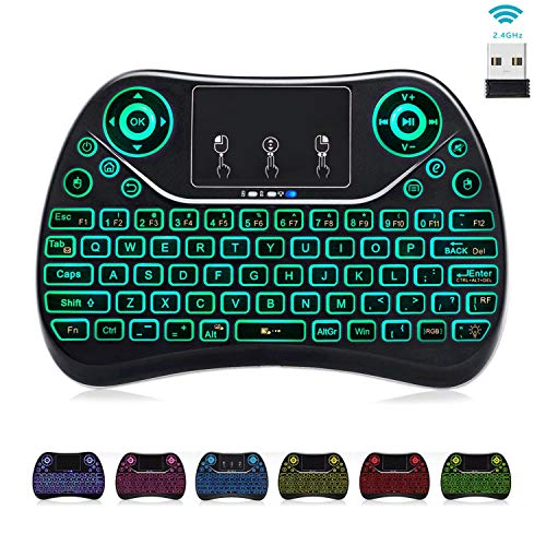 [7-Color Backlit] Mini Air Keyboard Touchpad Mouse Media Keys,2.4Ghz USB Handheld Keypad Small Wireless Keyboard Remote for Windows 10,Mac Mini,Google,Kodi Box,Android TV Box,PC,HTPC,Raspberry Pi 3