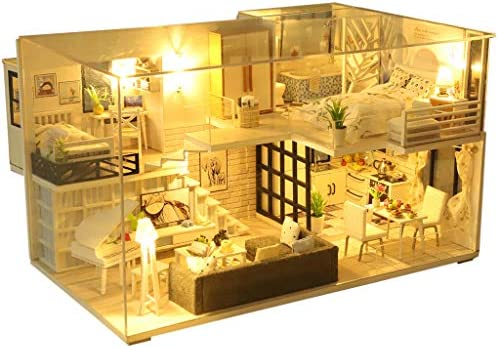 Wooden Dollhouse MiniaturesFurniture DIY House KitCover and Led Light Dust Proof Creative Room Idea Gift for Girls Boys Lovers Friends (B (Cover )) / Wooden Dollhouse MiniaturesFurniture DIY House KitCover and Led Light Dust Proof ...