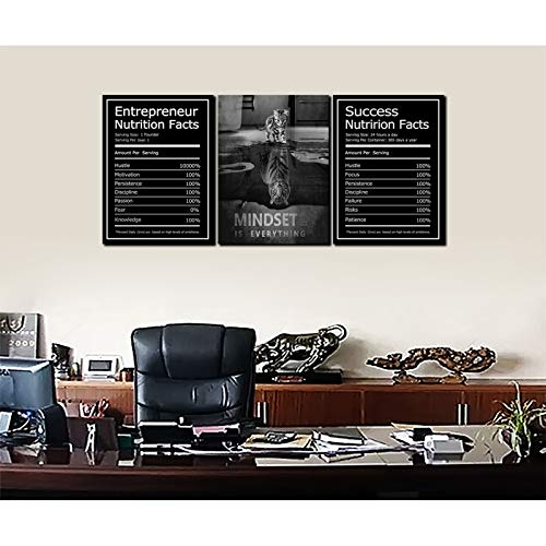 Inspirational Canvas Painting Wall Art, Success Entrepreneur Mindset is Everything Motivational Quotes Wall Art Posters Prints for Office, Workplace Canvas Artwork 3 Panels Framed