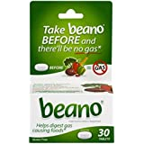 Beano Food Enzyme Dietary Supplement   Help Digest Gas-Causing Foods   30 Tablets   Packaging May Vary