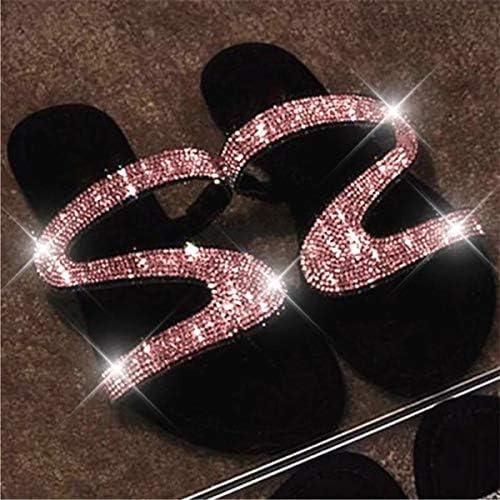 ANLW Frauen Bequeme Flip Flops Sandalen, Mit Z-Förmige Strass Füßen Correct Flachen Sohle Sandale, Sommer-Strand-Reise-Schuhe Für Freundinnen Und Mutter Beiläufigen Wanderurlaub