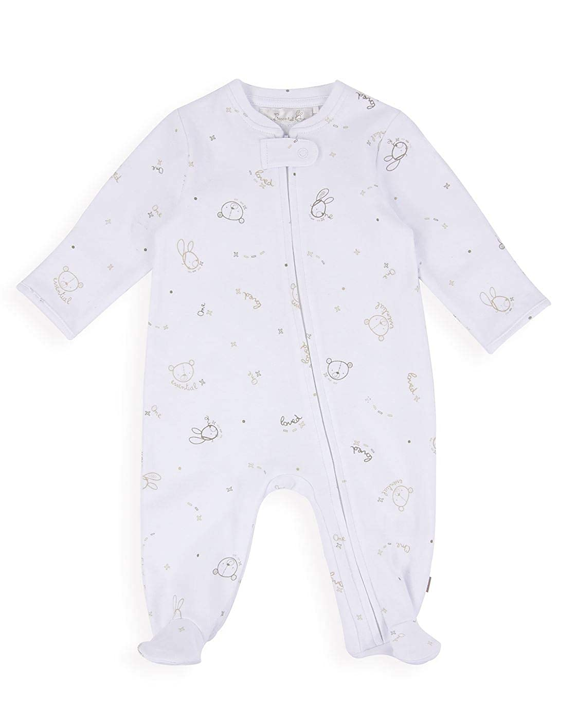 The Essential One - Baby Unisex Neutral Zip-Up All in One - White/Beige - EO309