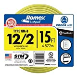 Southwire 28828226 15' 12/2 with ground Romex brand SIMpull residential indoor electrical wire type NM-B, Yellow