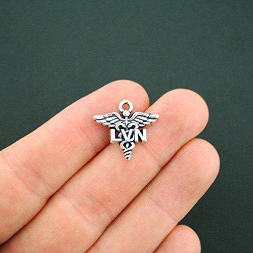 4 LVN Charms Antique Silver Tone Licensed Vocational Nurse for Jewelry Making Bracelet Necklace DIY Crafts