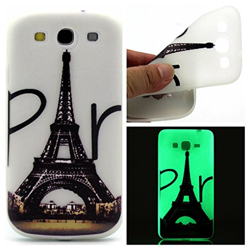 Samsung Galaxy S3 Case,LYO Colorful Silicone Cover Glow in the Dark Noctilucent Ultra Slim Luminous Soft TPU Skin Case For Samsung Galaxy S3 i9300 Case And Stylus Pen[Eiffel - The Glow Galaxy S3 Dark In Case