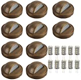 LFU Brass Constructed Surface Mounted Deck/Step/Patio/Hardscape Light. Low Voltage. (10 Pack Bundle, Mariposa)