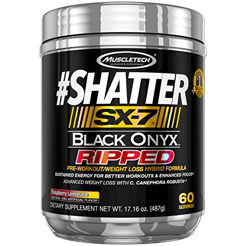 MuscleTech Shatter Sx-7 Black Onyx Ripped Pre Workout with 60 Servings, Raspberry Lemonade, 487 Gram by MuscleTech