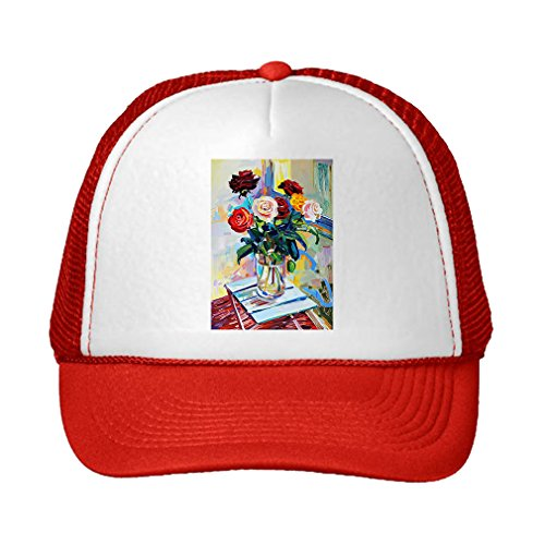 Speedy Pros Art Composition Of Roses Bouquet Adjustable High Profile Trucker Hat Cap (Red Hat Rose Bouquet)