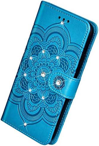 Herbests Kompatibel mit Xiaomi Mi A3/Mi CC9E Handyhülle Handytasche Mandala Blumen Muster Leder Hülle Strass Diamant Bling Glitzer Glänzend Schutzhülle Flipcase Hülle Kartenfächer Magnet,Blau