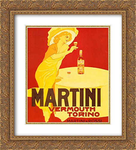 Martini & Rossi Vermouth Torino 2X Matted 15x18 Gold Ornate Framed Art Print