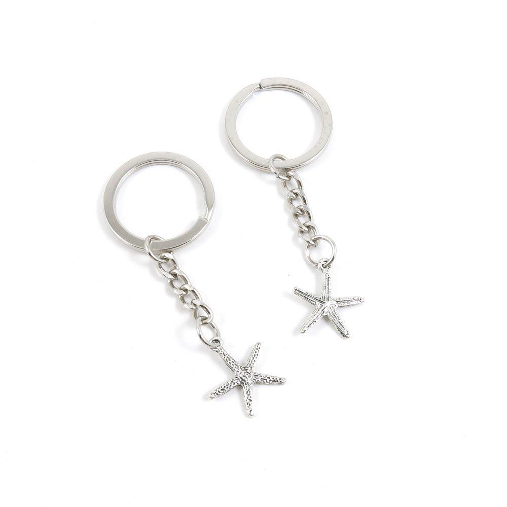 1 Pieces Keyrings Keychains Door Car Keys Rings Tags Chain Antique Silver Tone Bulk Lots Z6YP5Q Starfish Sea Star BLUESTONE004