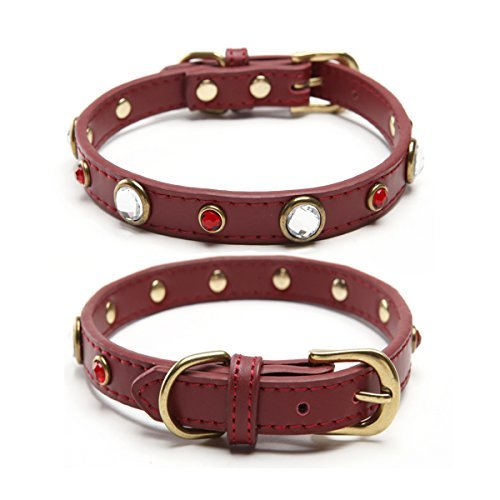 Studded Leather Dog Collar Crystal Beads for Small Breed Red Small