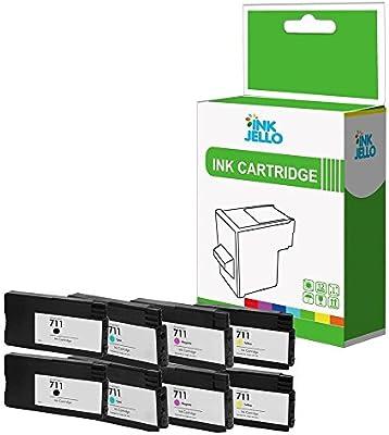 InkJello - Cartucho de tinta de repuesto compatible con HP Designjet T120 T520 ePrinter 711 (negro, cian, magenta, amarillo, 8 unidades): Amazon.es: Electrónica