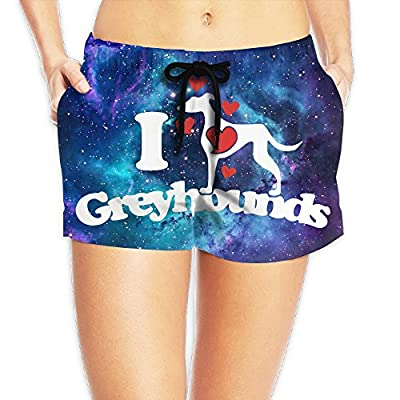 Women I Love Greyhounds Greyhound Lover Printed Summer Casual Shorts Beach Shorts Beach Board Shorts