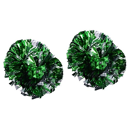 (Vbestlife 2 Pack Cheerleading Pompoms, Cheering Squad Spirited Fun Cheerleading Kit Cheerleader Aerobics Pom Poms for Team Spirit Dance Party School Sports Competition Stage Performance(Green+Silver))