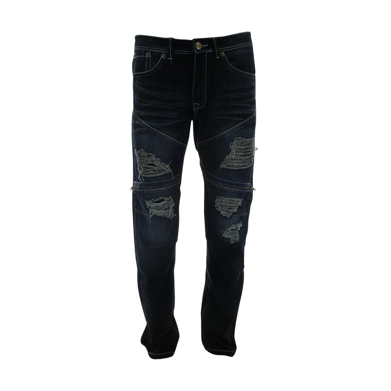 Gray Earth - Men's Rips Zipper Pocket Knee Jeans - Blue