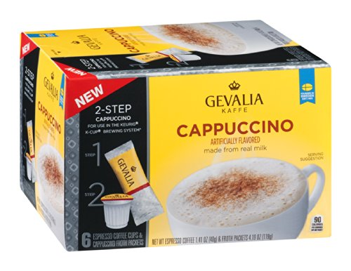 Gevalia Coffee Cups and Froth Packets Cappuccino Espresso 6ct (Pack of 6) -  043000057728