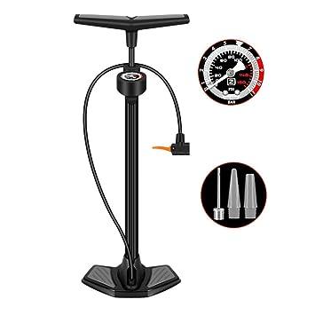 Bomba de Aire de Bicicleta con manómetro y Agujas de Bola Una para ...