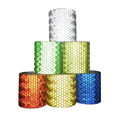 Viewm Reflective Tape 6 Rolls Safety Warning Conspicuity Tapes 2 inch × 3.28 yard / 5cm × 3m (Multicolored)