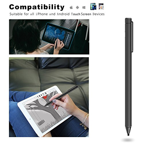 FENTAC Active Stylus Pen 2.4 mm Fine Point Fiber Tip for Touch Screen Devices(Black) by Fentac (Image #5)