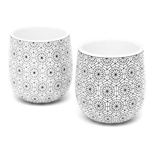 Dobbelt Set of 2 Double Walled Espresso Cups, 2 Ounce, Circle Pattern - Insulated Ceramic Espresso Mugs - Modern, Contemporary, Art Deco Design - Box Set, by Kop & Hagen (Espresso Cups Ceramic)