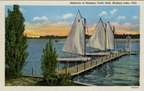 Photo Reprint Sailboats at Buckeye Lake Yacht Club, Buckeye Lake, Ohio
