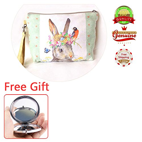 EYX Formula Square Canvas Sweet Girls Cartoon Pattern Cosmetic Bag Coin Purse Handbag, Portable Pouch with Zipper Enclosure Carrying case for Coins With Ceramics Cosmetics Mirror(Lovely Rabbit ) - Cartoon Pattern Canvas