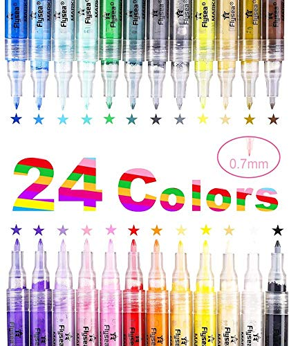 Set of 24 Acrylic Paint Pens, Permanent Water Based Medium Tip 0.7 mm Marker Pen for Rock Painting, Ceramic, Porcelain, Glass, Stones, Pebbles, Fabric, Wood & DIY Mug Design