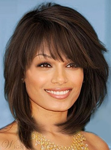 100% Real Hair!Sweet Layered Bob Hairstyle Midlenght Straight Capless Wigs