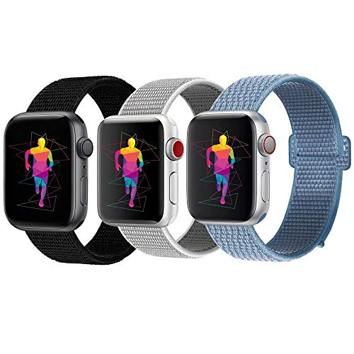 INTENY Sport Band Compatible with Apple Watch 42mm 44mm, Nylon Sport Loop, Strap Replacement for iWatch Series 4, Series 3, Series 2, Series 1 (Seashell, Cape cod Blue, Dark Black, 42mm 44mm)