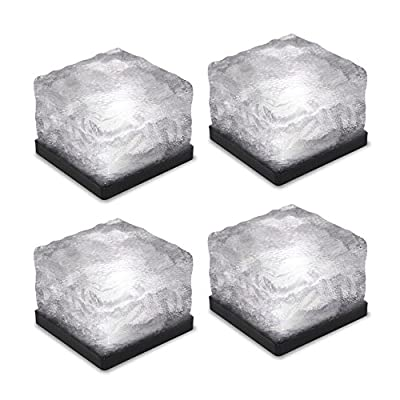 Tomshine 4Pcs Light Sensor Creative Glass Stone Ice Cube Solar Powered Crystal Brick LED Night Lamp for Garden Courtyard Pathway Patio Pool Pond Outdoor Decoration Xmas
