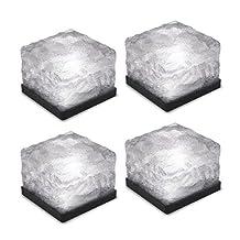 Tomshine 4Pcs Glass Brick Paver Garden Light Waterproof Ice Cube Rocks Solar Light for Outdoor Path Road Yard