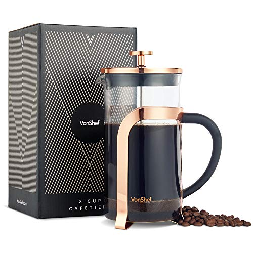 VonShef French Press Coffee and Tea Maker Premium Glass Heat Resistant Cafetiere, Stainless Steel 1 Liter, 34 Ounce, 8…