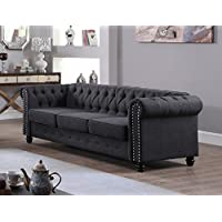 U.S. Livings Lilyana Modern Living Room Sofa Set (Sofa, Charcoal)
