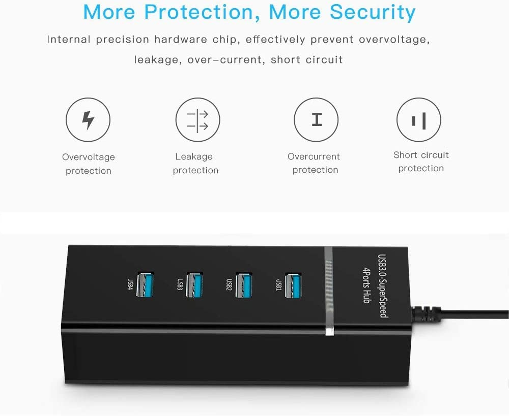 for Galaxy S8 /& S8 Black Todayday Normal 30cm USB-C//Type-C 3.1 Male to 4-Port USB 3.0 Adapter Hub ,Light and beauti // LG G6 // Huawei P10 /& P10 Plus//Xiaomi Mi 6 /& Max 2 and Other Smartphones