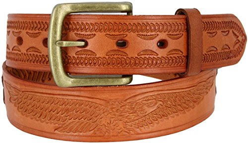 Tan Tooled - Mens Oil Tanned Western Style Genuine Leather Tooled and Laced Belt (38, Tan)