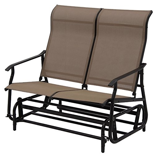 2 Person Swinging Bench Textile Fiber Durable Steel Frame Construction Glider Rocking Rocker Chair Armchair Seat Patio Garden Indoor Outdoor Backyard Porch Pool Furniture Décor Weather-Resistant