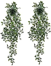 Lavora Zone Fake Hanging Plants in Black Pots Artificial Hanging Eucalyptus Plants Potted 2 Pack Faux Hanging Eucalyptus Greenery in Pot Hanging Leaf Plant Ivy Vines for Indoor Outdoor Home Decor